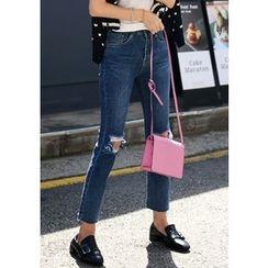 DEEPNY - Cutout-Trim Straight-Cut Jeans