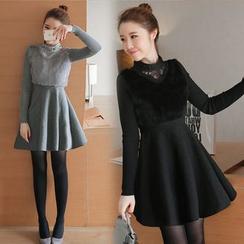 ESODO - 長袖拼接針織連衣裙