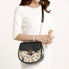 Axixi - Floral Flap Chain-Strap Shoulder Bag