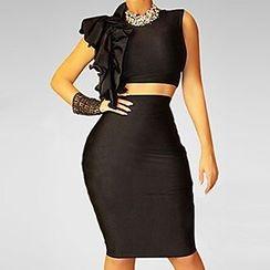 Merma - Set: Ruffle Crop Top + Pencil Skirt