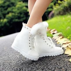 Pastel Pairs - Furry Trim Hidden Wedge Lace-Up Short Boots