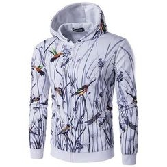 Fireon - Bird Print Hooded Zip Jacket