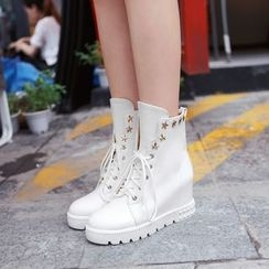Pastel Pairs - Star Studded Hidden Wedge Lace-Up Short Boots