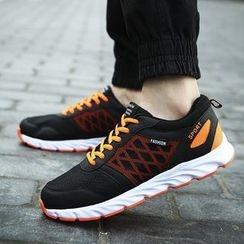 MARTUCCI - Platform Mesh Panel Lace-Up Sneakers