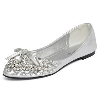 yeswalker - Bow-Accent Jeweled Flats