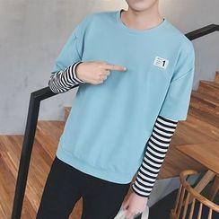 Besto - Striped Mock Two-Piece Pullover