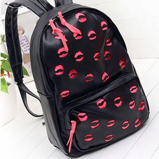Miss Sweety - Faux-Leather Perforated Backpack