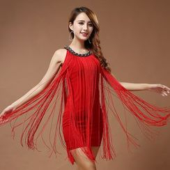 MATITA - Fringed Sleeveless Dance Dress