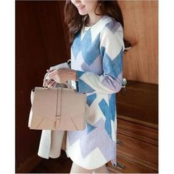 Dowisi - Patterned Long Sleeve Dress