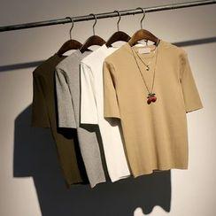 somniaa - 羅紋短袖針織上衣