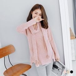 OrangeBear - Flat Knit Dropped Sleeved Sweater