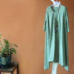 Rosadame - 中袖麻混纺连衣裙