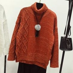 Honey House - Cable Knit Turtleneck Sweater