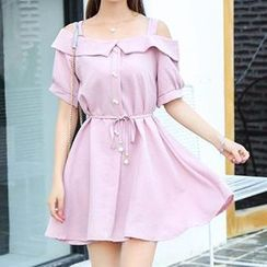 Cloud Nine - Off Shoulder Tie Waist Short Sleeve Dress