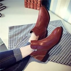 QQ Trend - Low Heel Stitch Detailed Ankle Boots