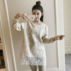 Meteor - Long-Sleeve Lace-Panel Tunic