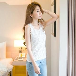 Tokyo Fashion - Lace-Overlay Sleeveless Top