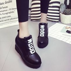 Wello - Lettering Hidden Wedge Ankle Boots