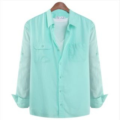 WIZIKOREA - Pocket-Front Shirt