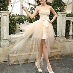 Bridal Workshop - Strapless Bow High Low Prom Dress