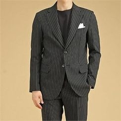 THE COVER - Flap-Pocket Pinstripe Blazer