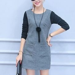 Lavogo - Knit Panel Long-Sleeve Dress