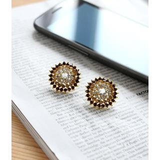 Petit et Belle - Rhinestone Flower Earrings
