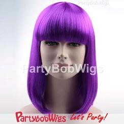 Party Wigs - PartyBobWigs - 派對BOB款中長假髮 - 螢光紫色