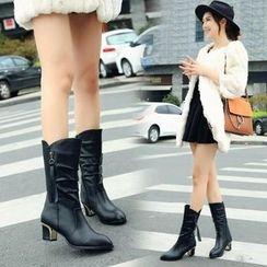 Yoflap - Chunky Heel Mid Calf Boots