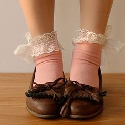 Fitight - Lace-Trim Bow-Accent Socks