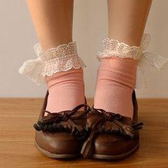 Fitight - 蕾丝边饰结短袜