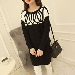 Pecora - Contrast Trim Long Sweater