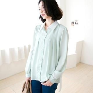 CatWorld - Contrast-Collar Pleated Chiffon Blouse