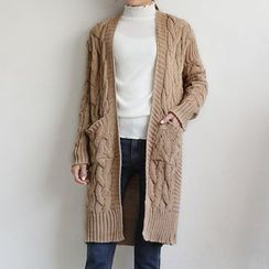 Seoul Fashion - Open-Front Cable-Knit Long Cardigan
