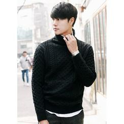 JOGUNSHOP - Turtle-Neck Cable-Knit Sweater