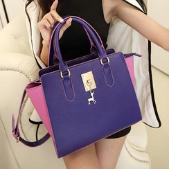 Youshine - Deer Charm Color-Block Satchel