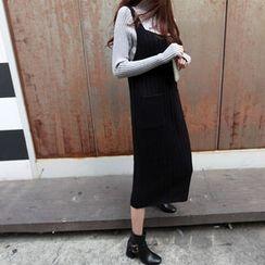 NIPONJJUYA - Sleeveless Long Rib-Knit Dress