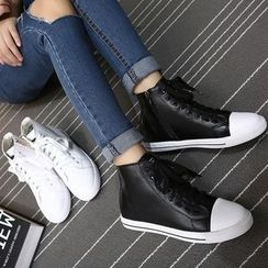 Monde - Faux Leather High-Top Sneakers