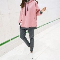 PIPPIN - Set: Hooded Contrast-Trim Pullover + Sweatpants