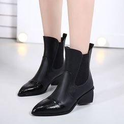 Monde - Block Heel Pointy Short Boots