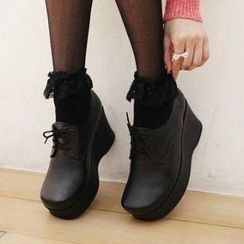 Mancienne - Lace-Up Platform Wedges