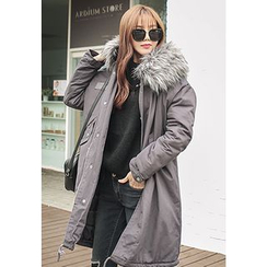 REDOPIN - Faux-Fur Hooded Drawstring-Waist Coat