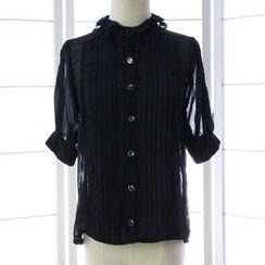 Reine - 蝴蝶结细褶衬衫