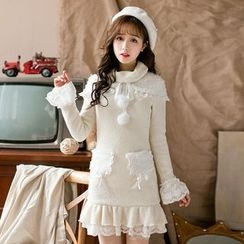 Candy Rain - Long-Sleeve Lace Trim Knit Dress