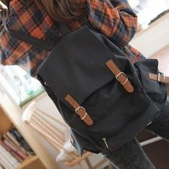 QeQ - Contrast-Strap Canvas Backpack