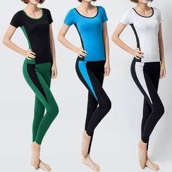 YANBOO - Set: Short Sleeve T-Shirt + Yoga Pants