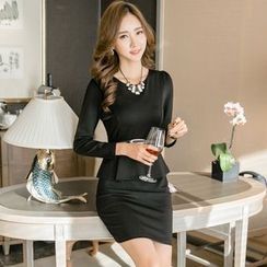 TRIST - Long-Sleeve Mock Two Piece Sheath Dress