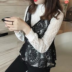 Little V - Set: Mock Neck Long Sleeve Lace Top + Lace Peplum Vest
