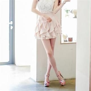 Closet 9 - Zip-Side Ruffled Miniskirt