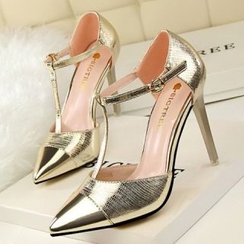Mancienne - T-Strap Pointy High-Heel Sandals